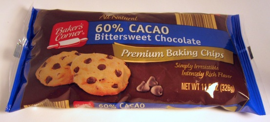 Chocolate bars and chips are popular for baking and are commonly labeled with the percentage of cocao it contains. This is based on unsweetened baker's chocolate. For example, a 60% cocao bar contains 270mg per oz (450mg x 0.6)