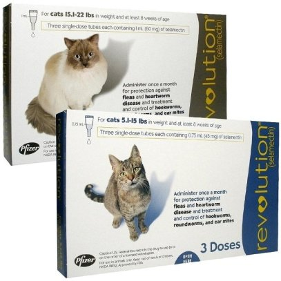 Revolution for cats is a topical medication, applied once every month to the base of your cat's neck. We recommend heartworm prevention for both indoor and outdoor cats. Image source: revolution4cats.com