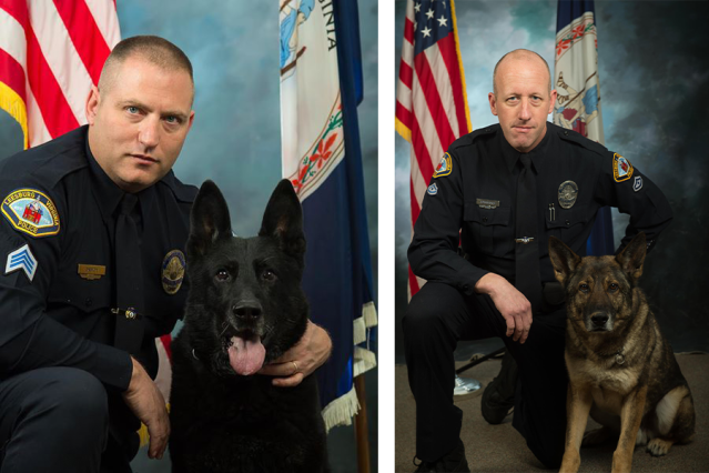 From left, Sgt Dale Depoy with his K9 partner Bak and MPO Greg Parsons with K9 partner Otto. Photo source: Leesburg Police Department Facebook Page