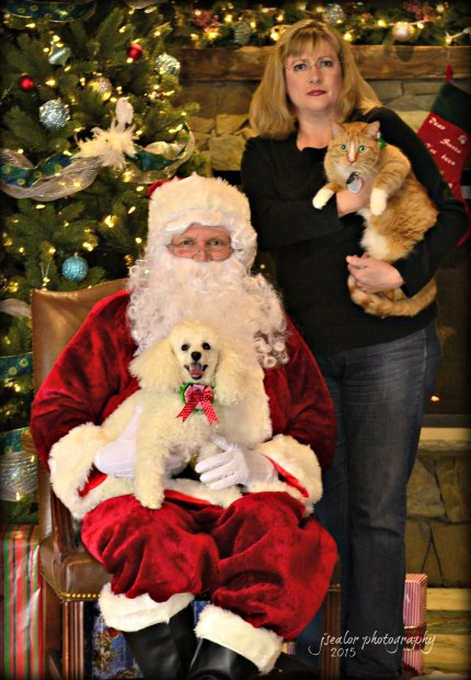 Even Mom joined in the fun with her Toy Poodle, Lily, and Dakota the cat.